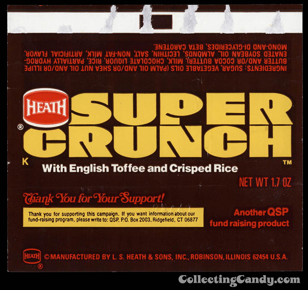 Heath - Super Crunch - fund raising - 1_7 oz chocolate candy bar wrapper - 1982