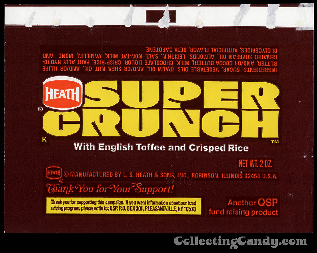Heath - Super Crunch - fund raising - 2 oz chocolate candy bar wrapper - 1977