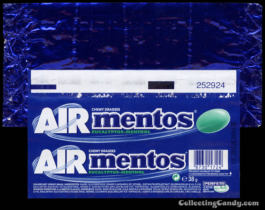 Holland-Europe - Perfettie - Van Melle - Mentos Air - Eucalyptus-Menthol - roll mint candy wrapper - 2011
