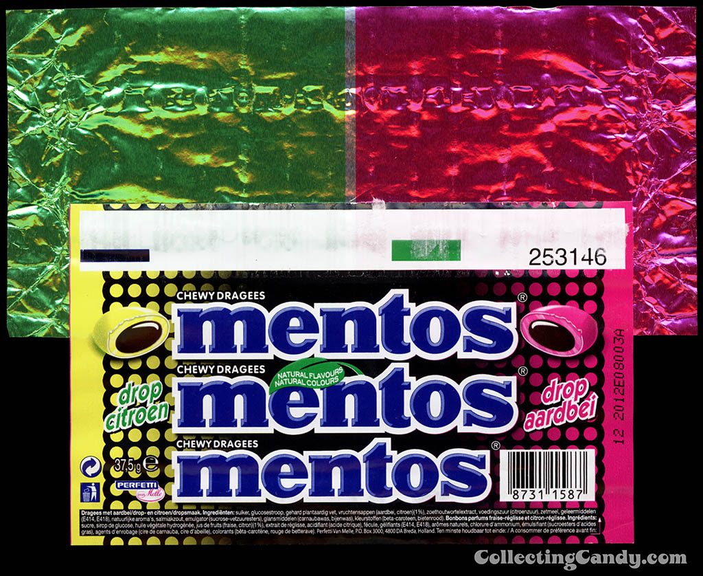 Holland-Europe - Perfettie - Van Melle - Mentos - Lemon-Strawberry - roll candy wrapper - 2011