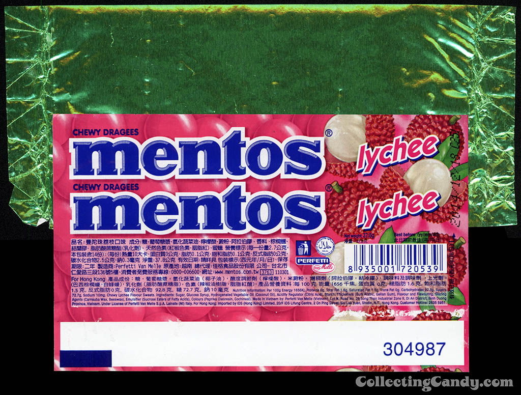 Hong Kong - Perfetti - Van Melle - Mentos Lychee - roll candy wrapper - 2013