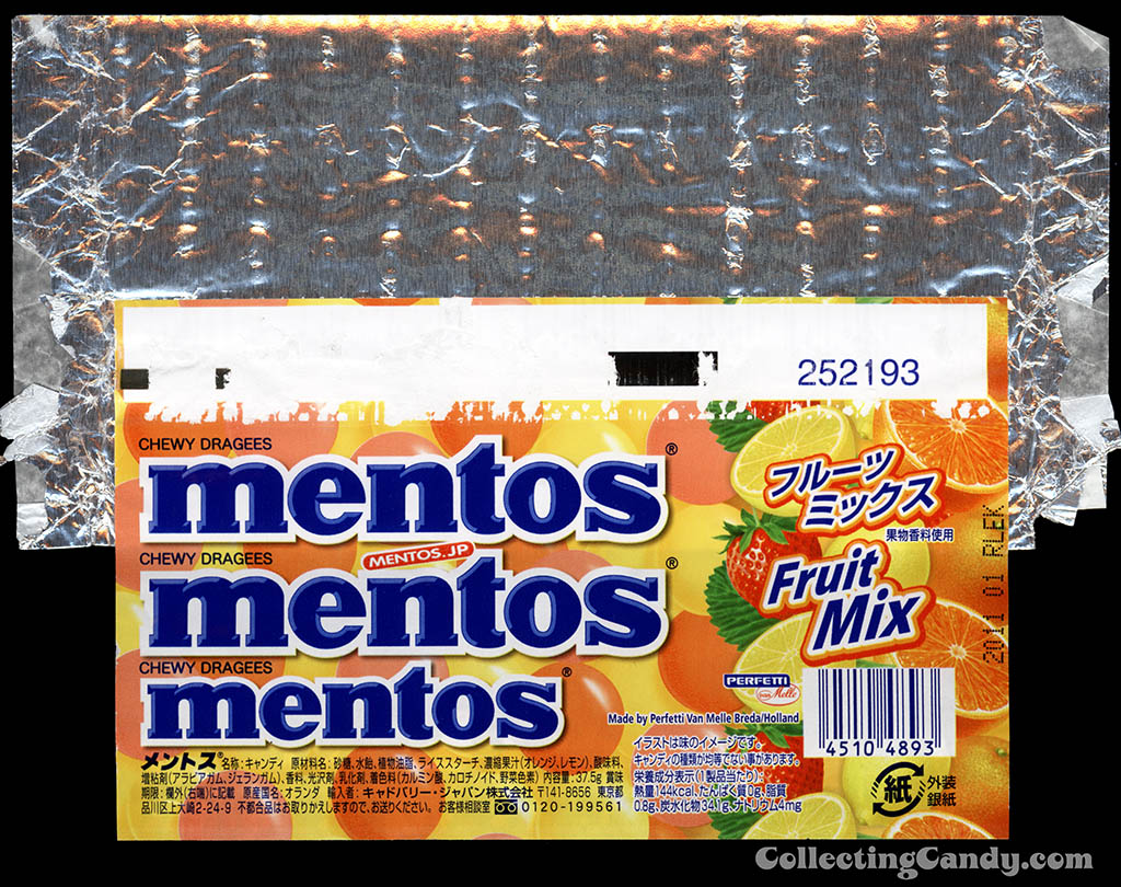 Japan - Perfetti - Van Melle - Mentos Fruit Mix - roll candy wrapper - 2010