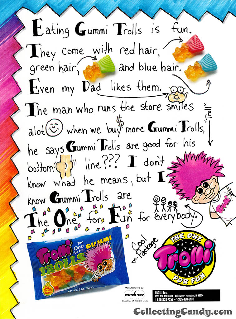 Mederer - Trolli - Gummi Trolls - candy trade magazine ad - June 1993