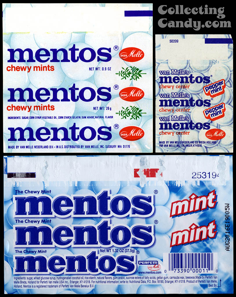 Mentos - comparison - 1970's roll wrapper to 1980's mini and 2013 roll wrapper