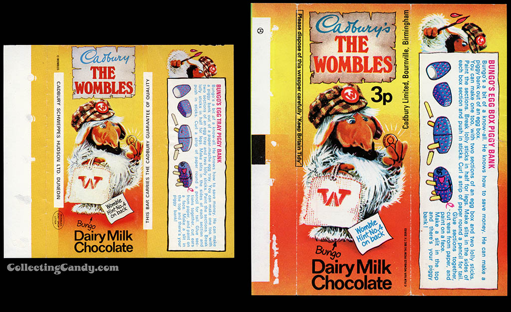 New Zealand - Cadbury The Wombles - Bungo - Hint No 4 - chocolate candy bar wrapper - 1970's