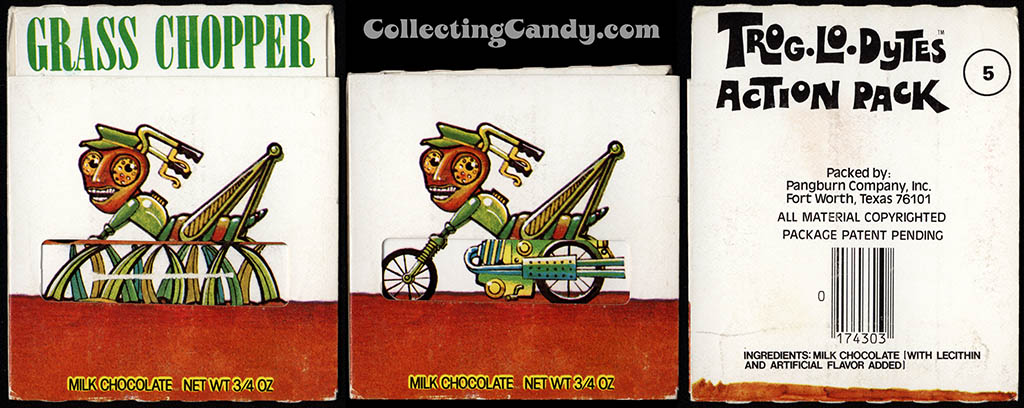 Pangburn - Trog-Lo-Dytes Action Pack #05 - Grass Chopper - chocolate candy package - 1970's