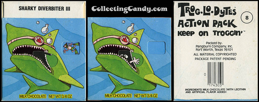 Pangburn - Trog-Lo-Dytes Action Pack #08 - Sharky Diverbiter  - chocolate candy package - 1970's
