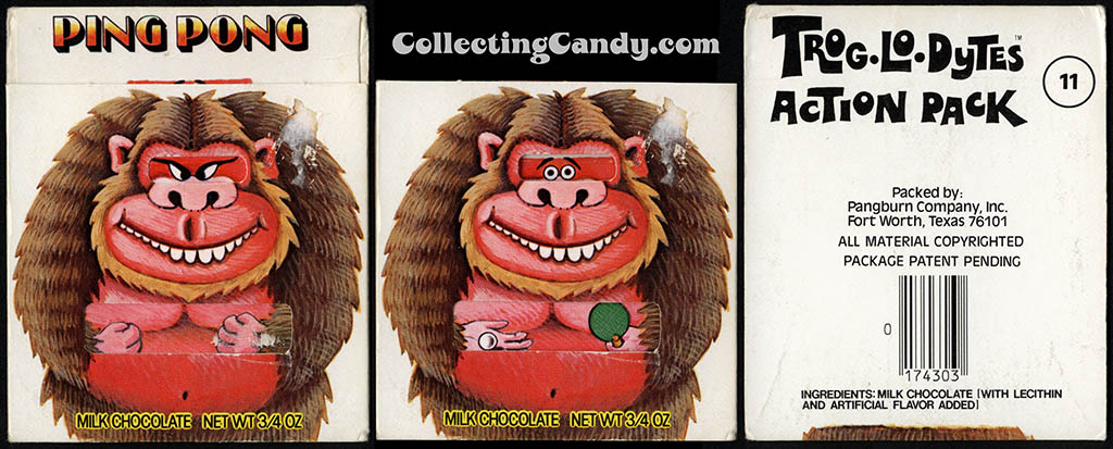Pangburn - Trog-Lo-Dytes Action Pack #11 - Ping Pong - chocolate candy package - 1970's