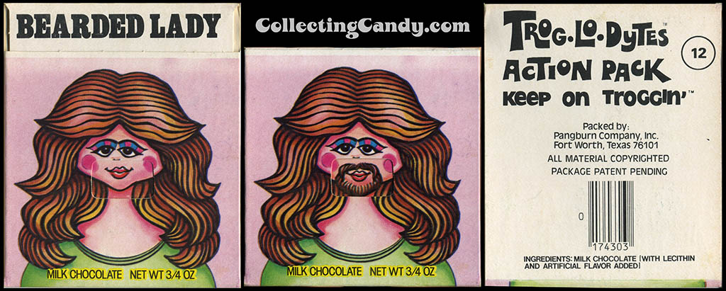 Pangburn - Trog-Lo-Dytes Action Pack #12 - Bearded Lady  - chocolate candy package - 1970's