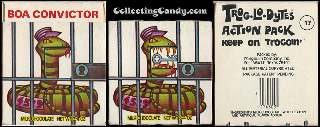 Pangburn - Trog-Lo-Dytes Action Pack #17 - Boa Convictor  - chocolate candy package - 1970's