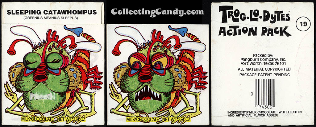 Pangburn - Trog-Lo-Dytes Action Pack #19 - Sleeping Catawhompus - chocolate candy package - 1970's