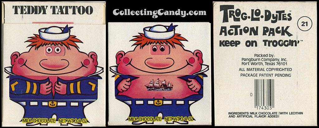 Pangburn - Trog-Lo-Dytes Action Pack #21 - Teddy Tattoo - chocolate candy package - 1970's
