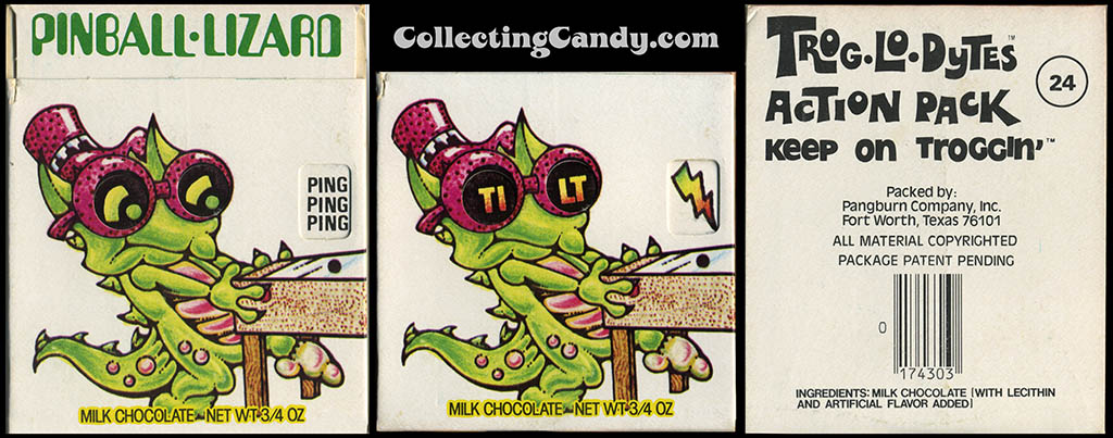 Pangburn - Trog-Lo-Dytes Action Pack #24 - Pinball Lizard  - chocolate candy package - 1970's