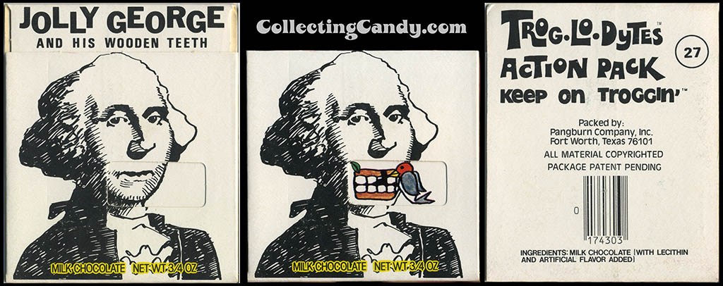 Pangburn - Trog-Lo-Dytes Action Pack #27 - Jolly George and his Wooden Teeth - chocolate candy package - 1970's