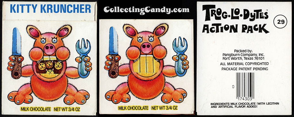 Pangburn - Trog-Lo-Dytes Action Pack #29 - Kitty Kruncher - chocolate candy package - 1970's
