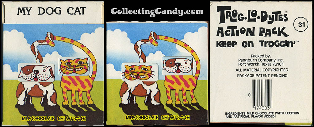 Pangburn - Trog-Lo-Dytes Action Pack #31 - My Dog Cat - chocolate candy package - 1970's