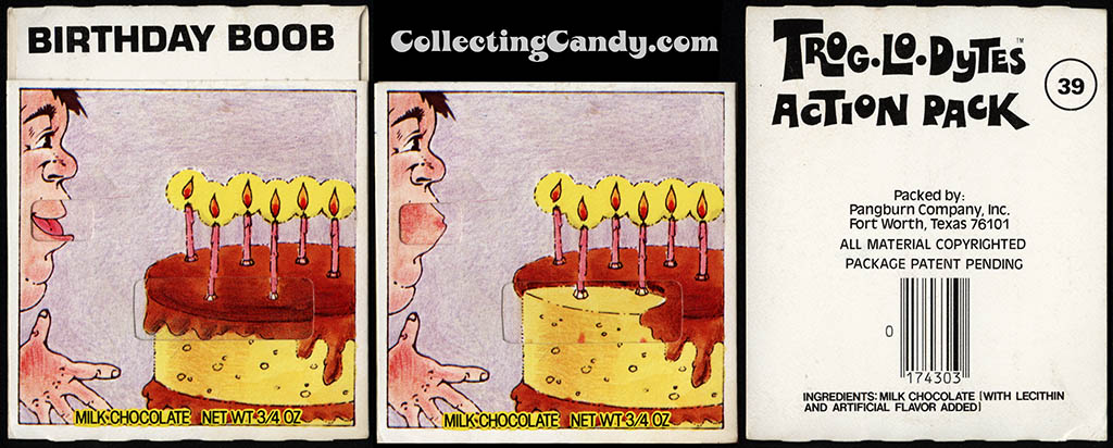 Pangburn - Trog-Lo-Dytes Action Pack #39 - Birthday Boob - chocolate candy package - 1970's