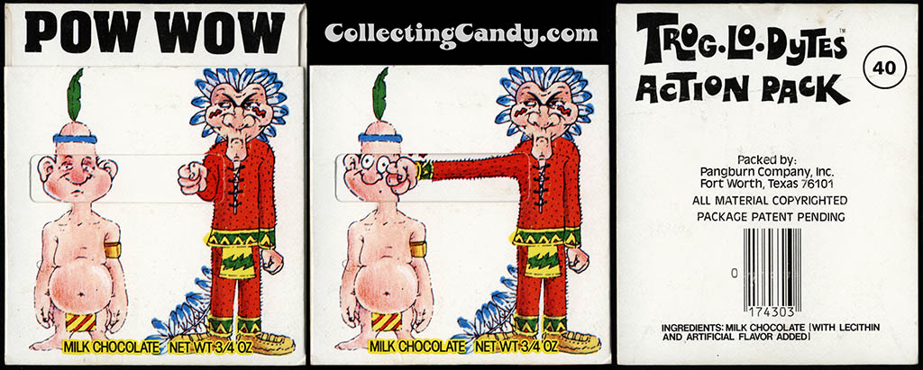 Pangburn - Trog-Lo-Dytes Action Pack #40 - Pow Wow - chocolate candy package - 1970's