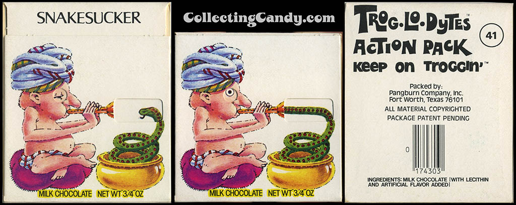 Pangburn - Trog-Lo-Dytes Action Pack #41 - Snakesucker - chocolate candy package - 1970's