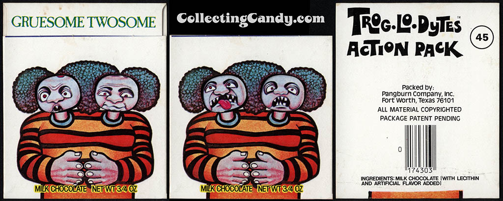 Pangburn - Trog-Lo-Dytes Action Pack #45 - Gruesome Twosome - chocolate candy package - 1970's