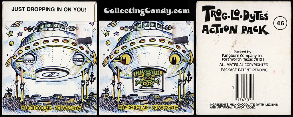 Pangburn - Trog-Lo-Dytes Action Pack #46 - Just Dropping In On You - chocolate candy package - 1970's