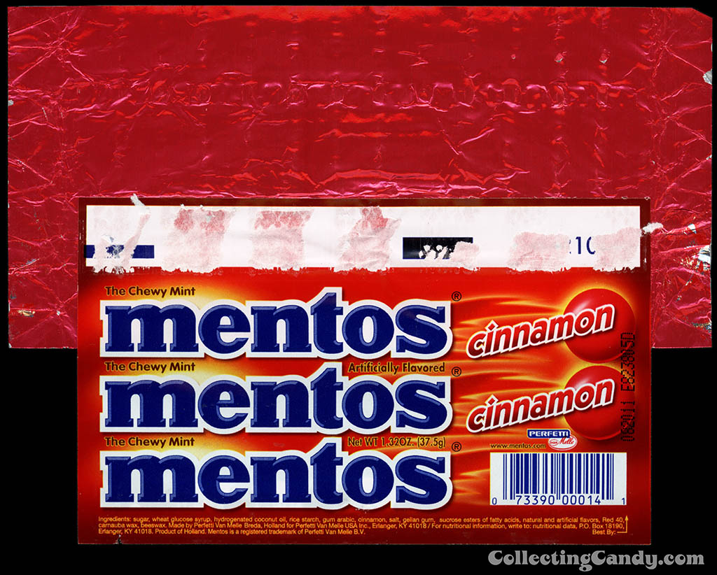 Perfetti - Van Melle - Mentos - Cinnamon - roll candy wrapper - 2010