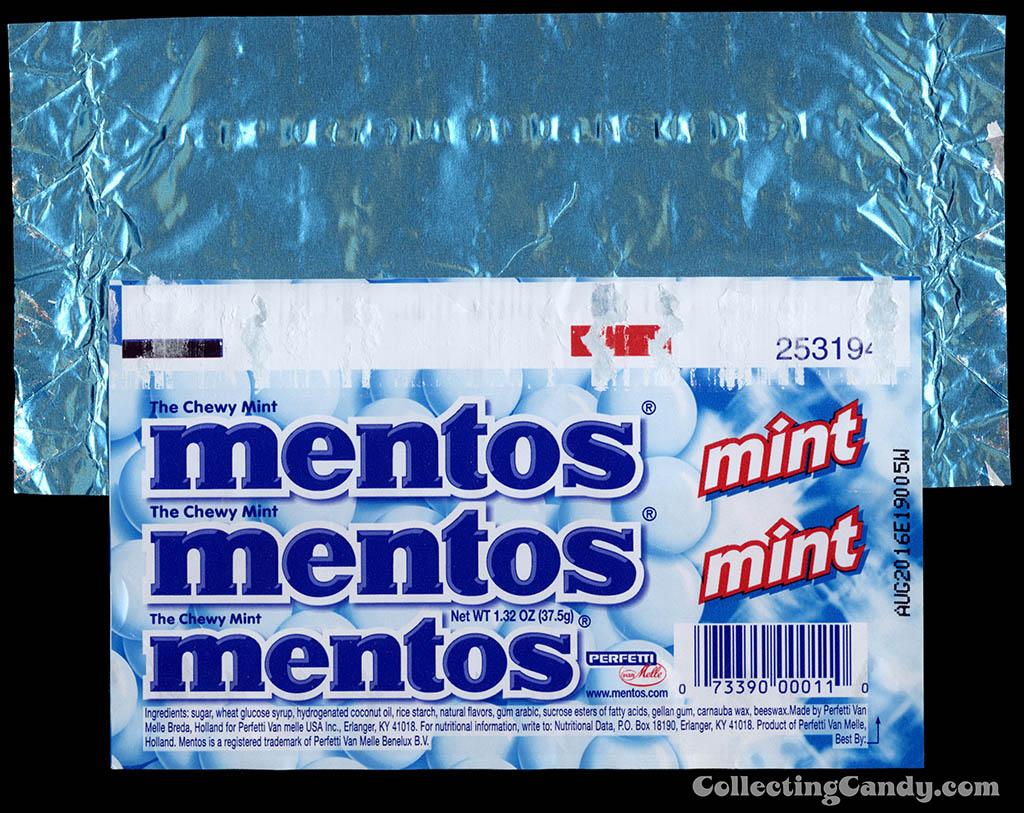 Perfetti - Van Melle - Mentos - Mint- roll mint candy wrapper - 2010