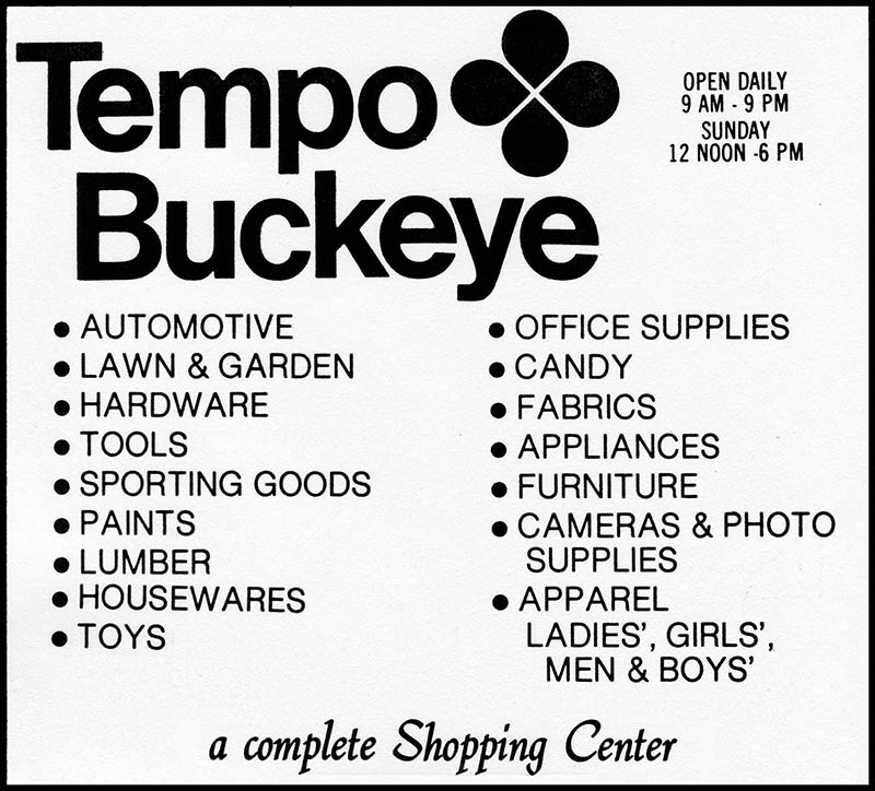 Tempo retail store logo and phonebook ad - 1976