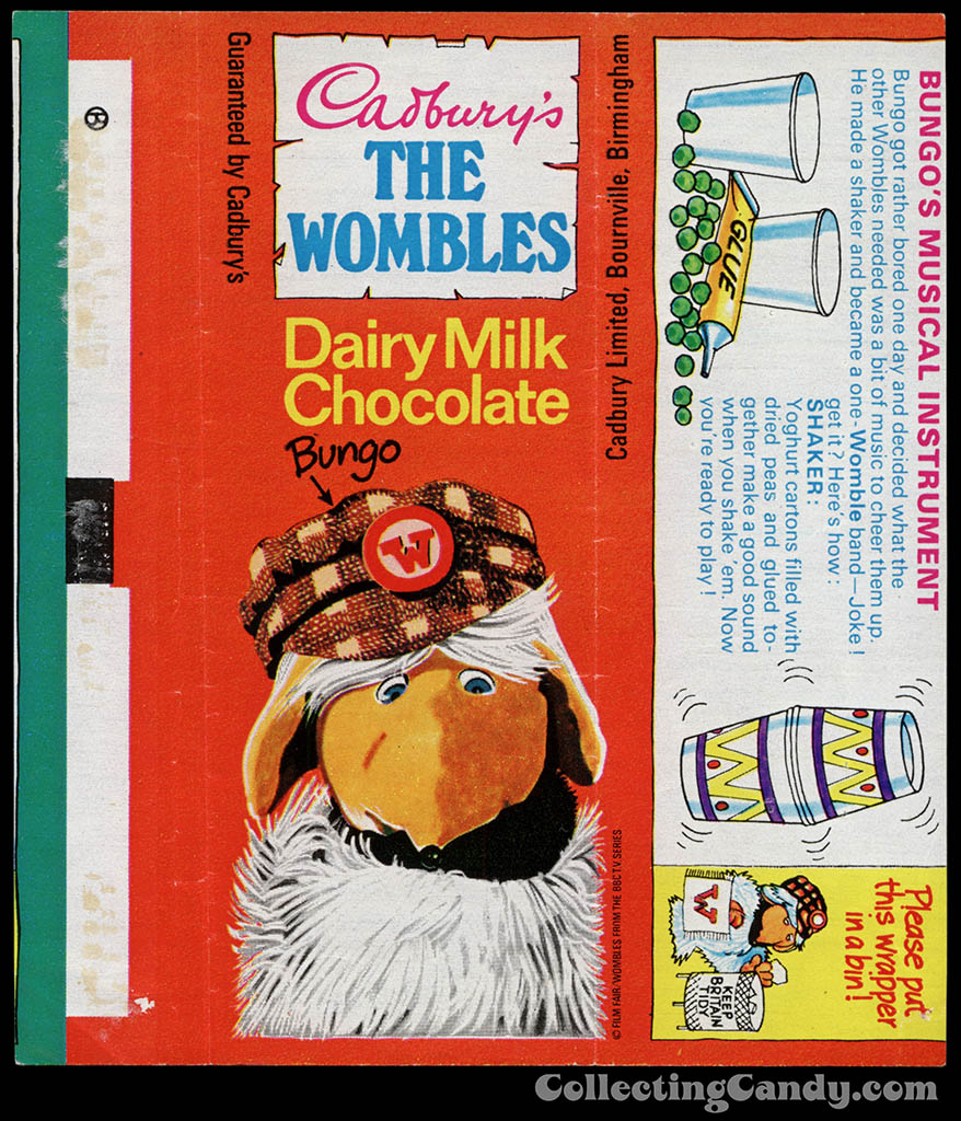 UK - Cadbury's - The Wombles Bungo - Bungo's Musical Instrument - chocolate candy bar wrapper - 1970's
