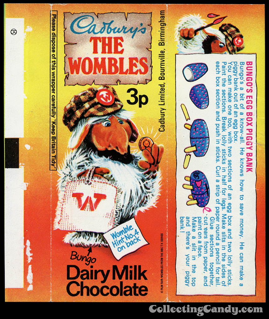UK - Cadbury's - The Wombles Bungo - Hint No 4 - chocolate candy bar wrapper - 1970's