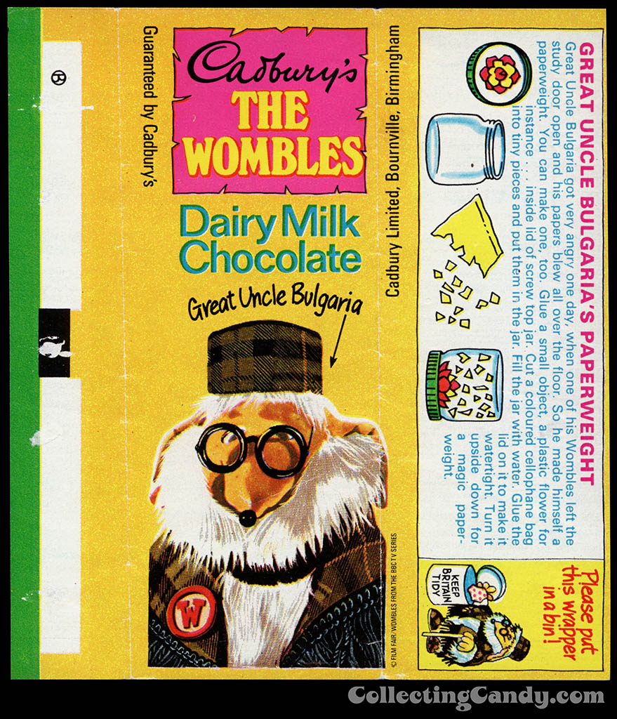 UK - Cadbury's - The Wombles Great Uncle Bulgaria - Great Uncle Bulgaria's Paperweight - chocolate candy bar wrapper - 1970's
