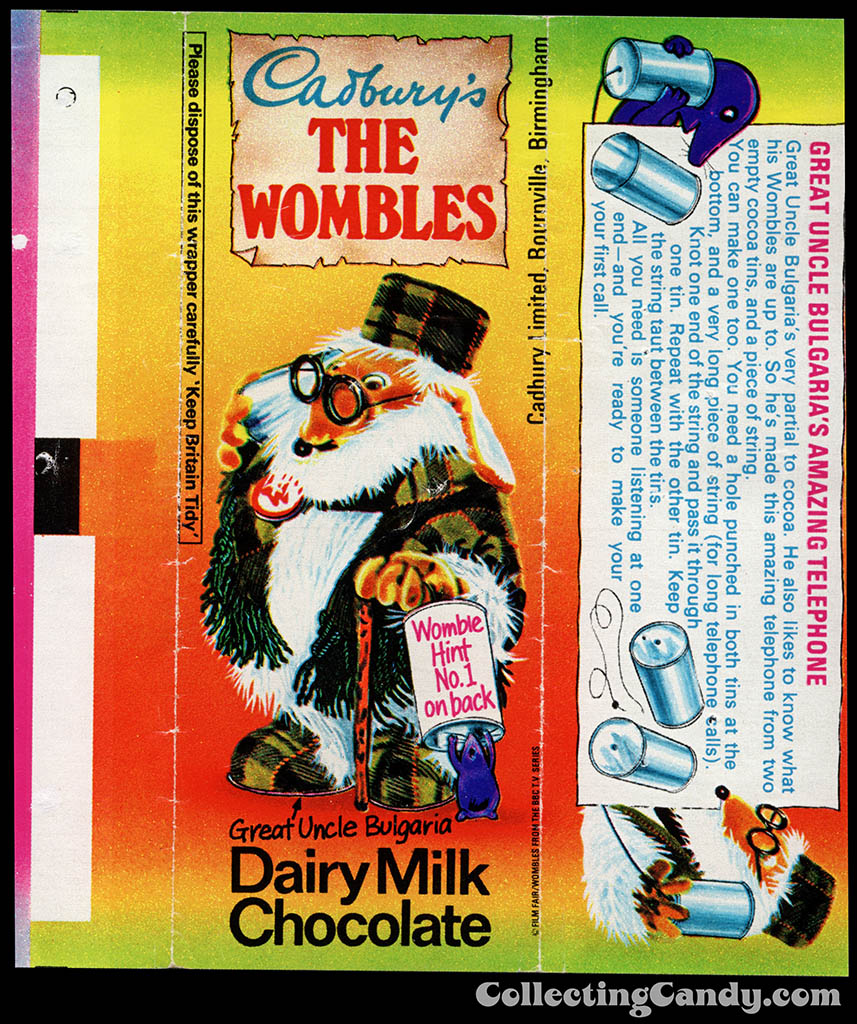 UK - Cadbury's - The Wombles Great Uncle Bulgaria - Hint No 1 - chocolate candy bar wrapper - 1970's