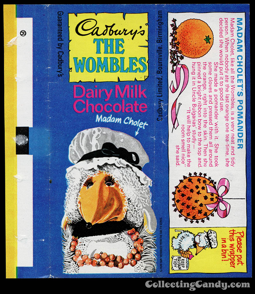 UK - Cadbury's - The Wombles Madam Cholet - Madam Cholet's Pomander - chocolate candy bar wrapper - 1970's