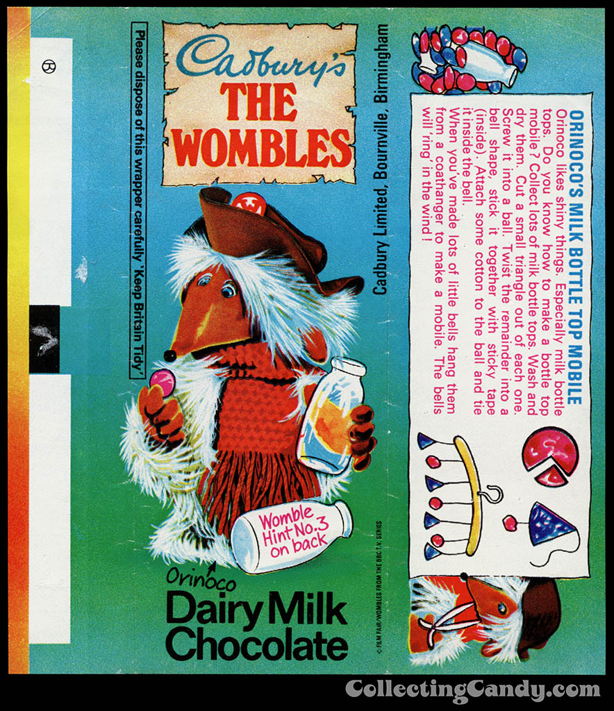 UK - Cadbury's - The Wombles Orinoco - Hint No 3 - chocolate candy bar wrapper - 1970's