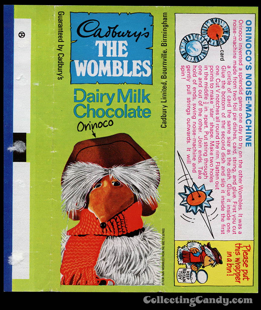 UK - Cadbury's - The Wombles Orinoco - Orinoco's Noise-Machine - chocolate candy bar wrapper - 1970's