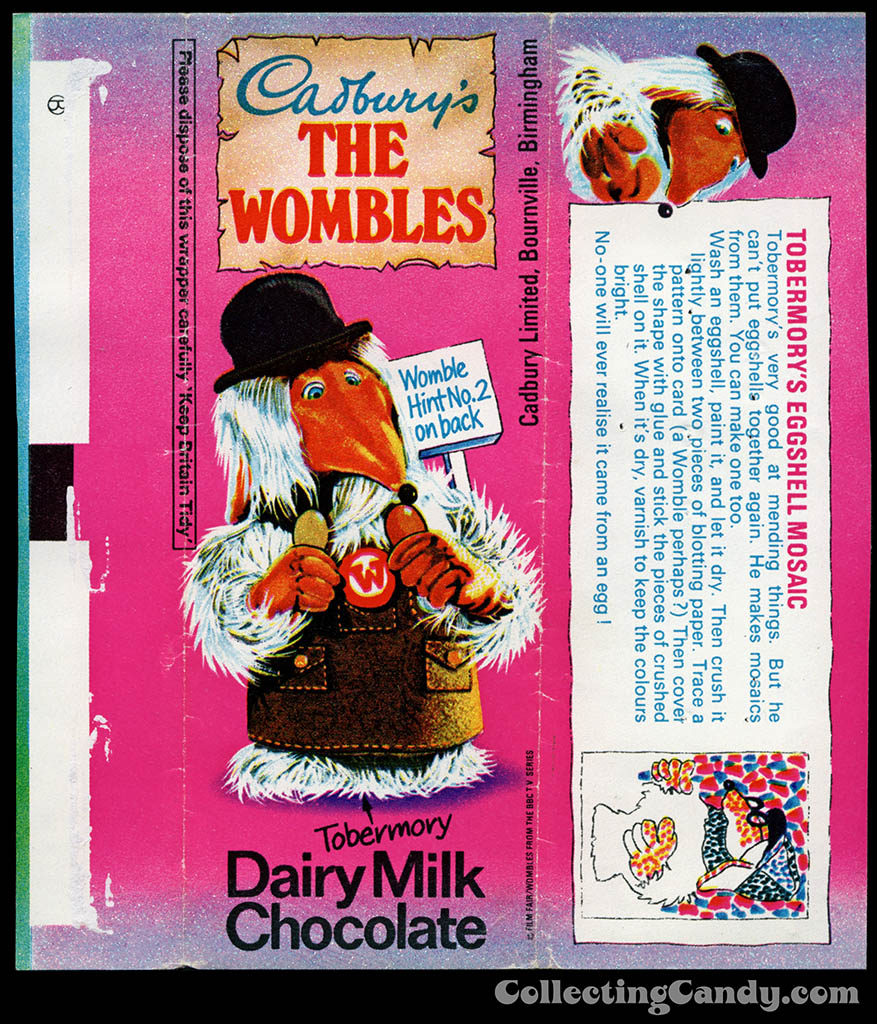 UK - Cadbury's - The Wombles Tobermory - Hint No 2 - chocolate candy bar wrapper - 1970's