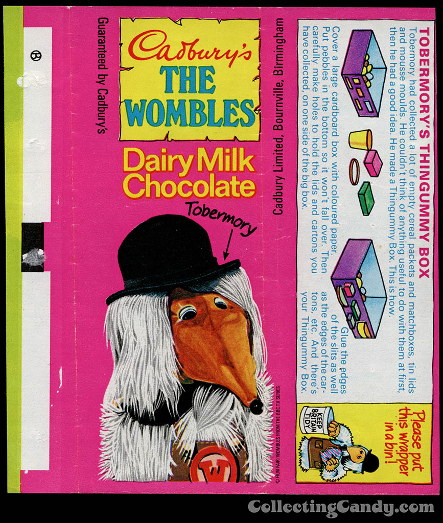 UK - Cadbury's - The Wombles Tobermory - Tobermory's Thingummy Box - chocolate candy bar wrapper - 1970's