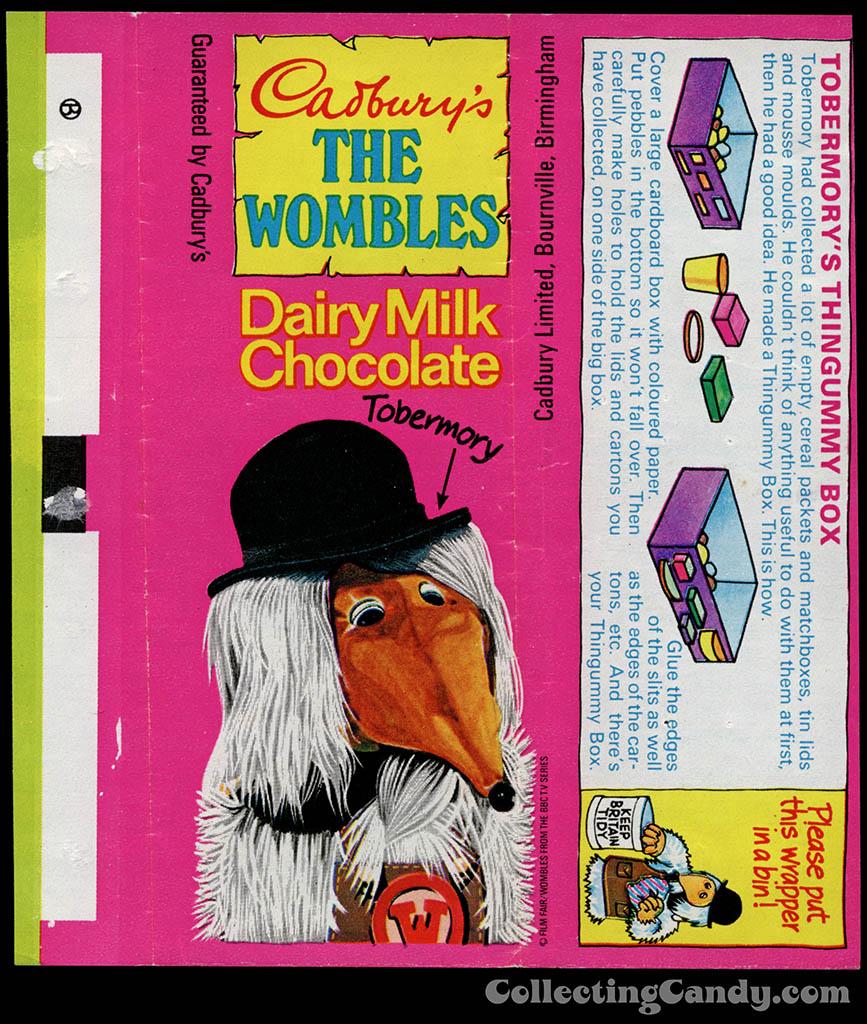 UK - Cadbury's - The Wombles Tobermory - Tobermory's Thingummy Box - chocolate candy bar wrapper - 1970's