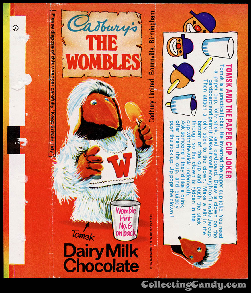 UK - Cadbury's - The Wombles Tomsk - Hint No 6 - chocolate candy bar wrapper - 1970's