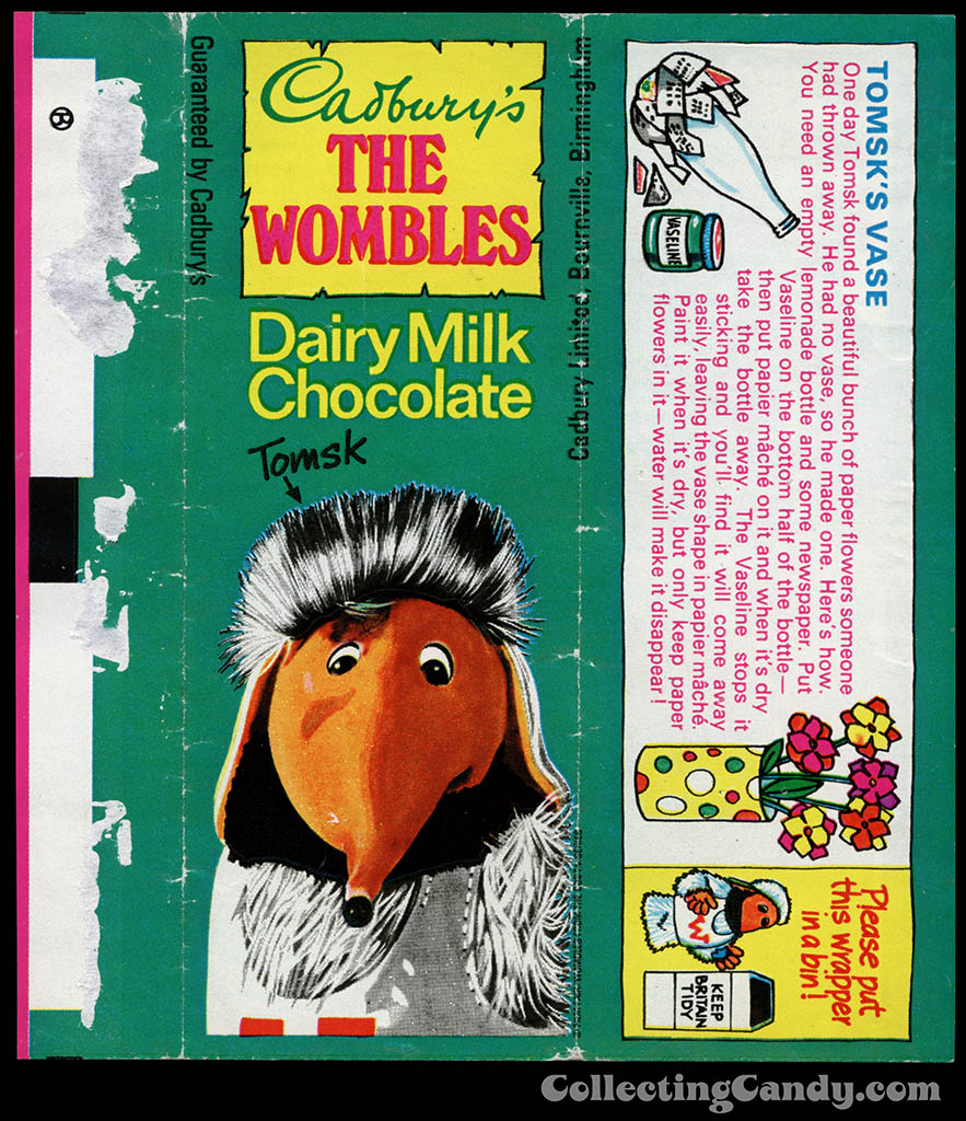UK - Cadbury's - The Wombles Tomsk - Tomsk's Vase - chocolate candy bar wrapper - 1970's