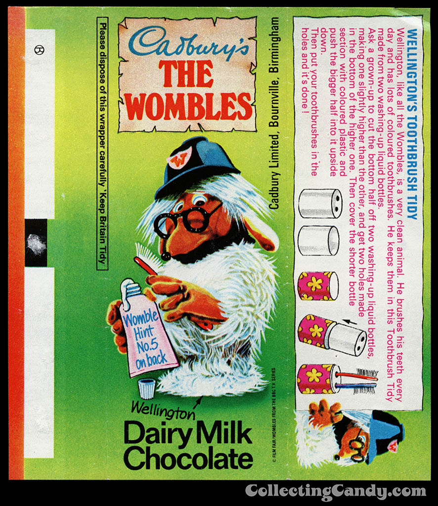 UK - Cadbury's - The Wombles Wellington - Hint No 5 - chocolate candy bar wrapper - 1970's