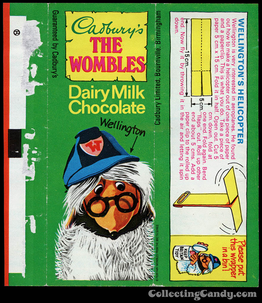 UK - Cadbury's - The Wombles Wellington - Wellington's Helicopter - chocolate candy bar wrapper - 1970's