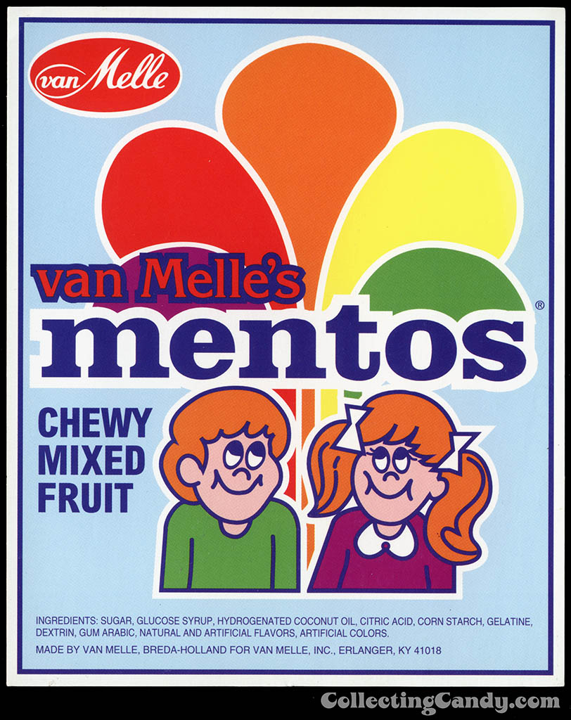 Van Melle's Mentos - Chewy Mixed Fruit - candy vending machine insert card - 1970's 1980's
