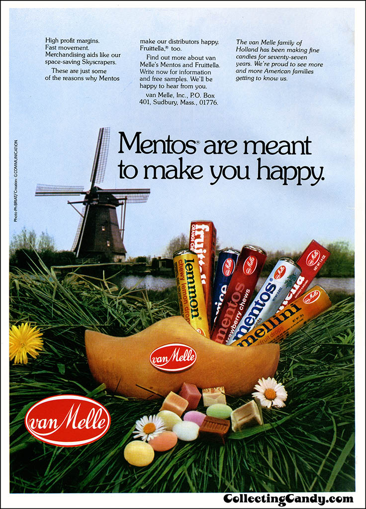 VanMelle - Mentos are meant to make you happy - candy trade magazine advertisement - October 1977