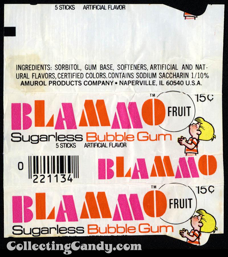 Amurol - Blammo Sugarless Bubble Gum - Fruit - 15-cent outer gum wrapper - trimmed - 1977