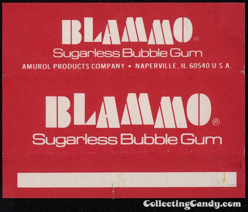 Amurol - Blammo Sugarless Bubble Gum - individual stick gum wrapper 1970's