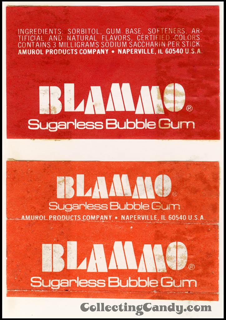 Amurol - Blammo Sugarless Bubble Gum - individual stick gum wrappers - 1970's