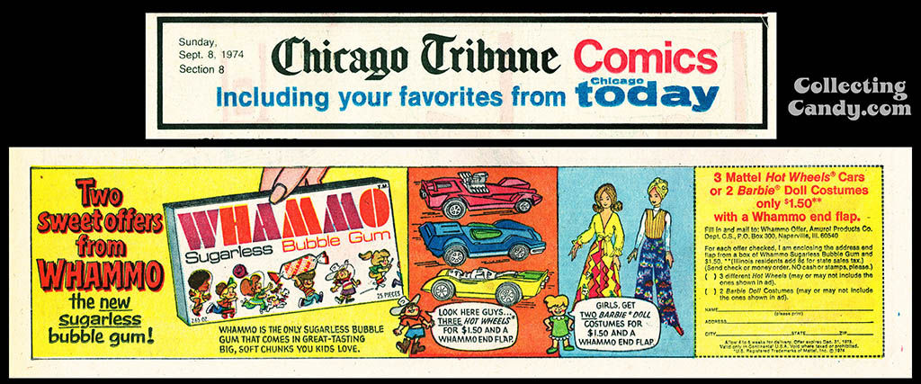 Amurol - Whammo Sugarless Bubble Gum - newpaper advertisement - Chicago Tribune comic section - Sept 8th, 1974