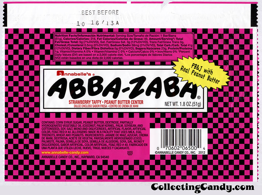Annabelle's - Abba-Zaba - Strawberry-Peanut Butter - PB&J with real peanut butter - candy wrapper - 2012