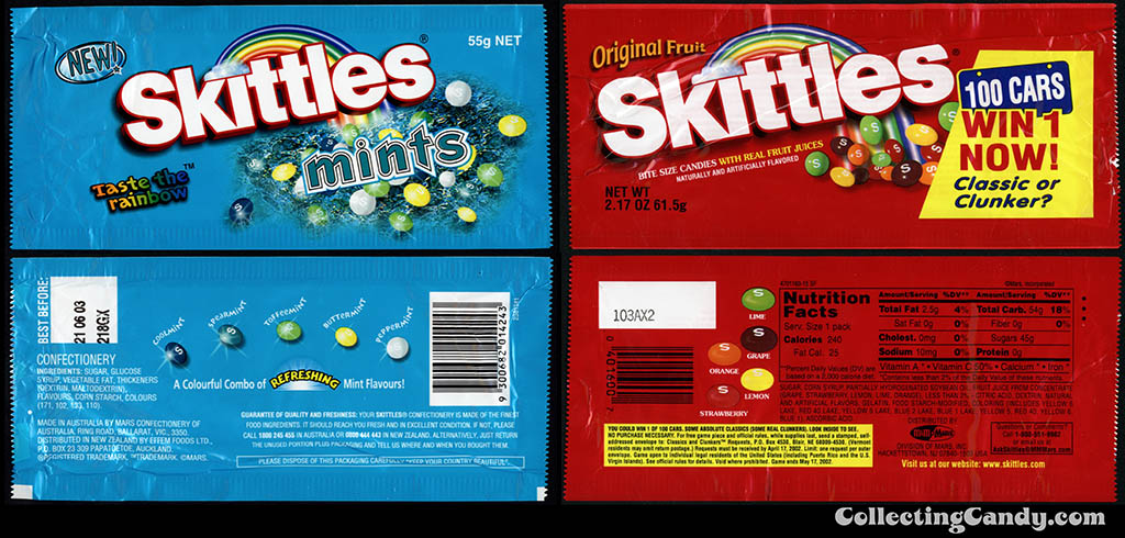 Australian Skittles Mint from 2002 and USA Skittles Fruit from 2001 packs